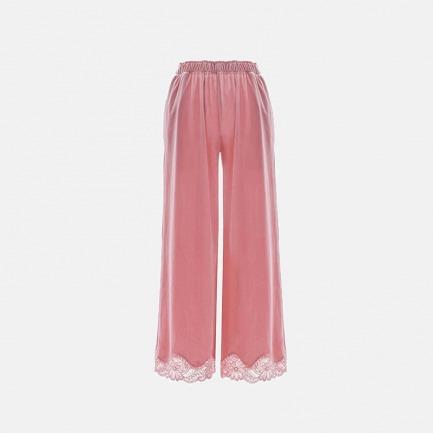 蕾丝拼接丝绒居家睡裤 | 少女色 兼具帅气甜美