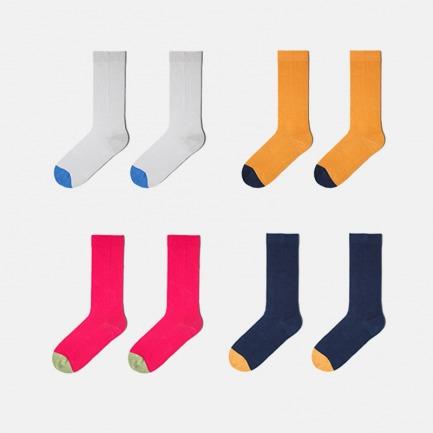 简约撞色长袜4双礼盒装 | 男女同款 舒适保暖又耐穿