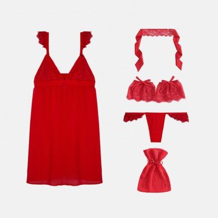 女蕾丝荷叶边中吊裙套装 | 轻薄半透的朦胧美 神秘性感