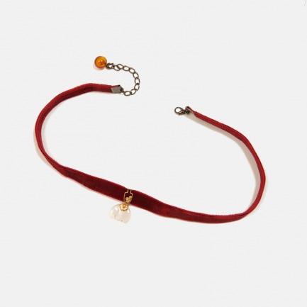 红丝绒玉坠Choker项链   和田玉如意小象 高贵优雅