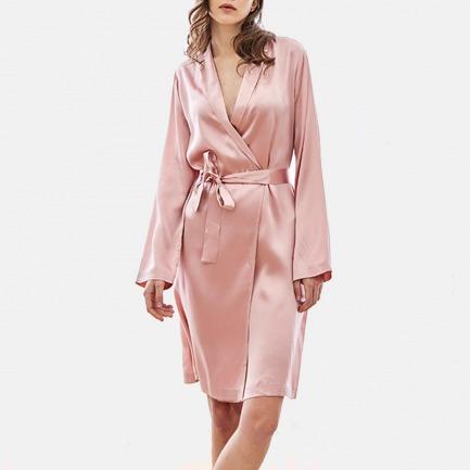 真丝西装领睡袍 丝柔亲肤 | 白/粉2款可选 优雅舒适
