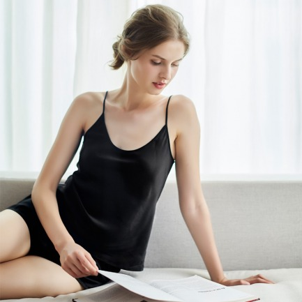 真丝经典吊带短裤2件套装 | 黑白2款可选 轻奢舒适亲肤