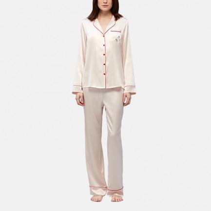 100%真丝睡衣套装 云朵粉 | 柔软桑蚕丝面料 亲肤舒适