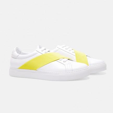 独特黄/绿色斜织带休闲鞋  | Gucci同款进口皮革 男女同款