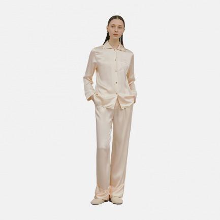 双层衣领刺绣套装 家居服 | 100%桑蚕丝 优雅别致