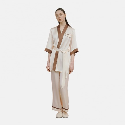 杏色短款睡袍家居服 | 高级的真丝质感