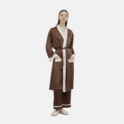褐色长款睡袍家居服 | 高级的真丝质感