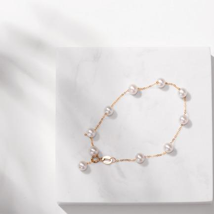 18K金淡水珍珠手链 | 把幸运满天星手链戴在腕上