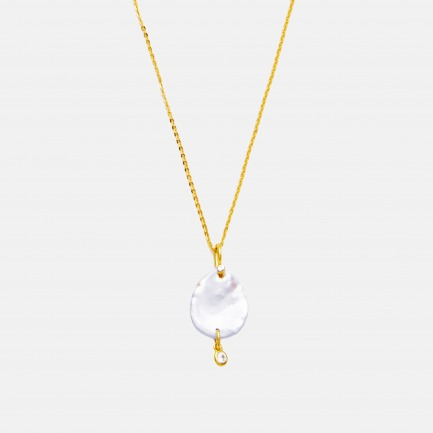 天然淡水花瓣珍珠项链   锆石点缀,手工制作