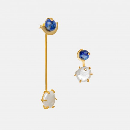 青金石不对称耳环   天然淡水珍珠+青金石