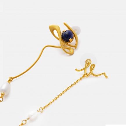 青金石造型耳钉链   时髦人士的必备单品