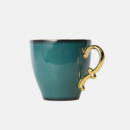 骨瓷欧式网红咖啡杯 | 金色镶边,优雅渐变森林绿