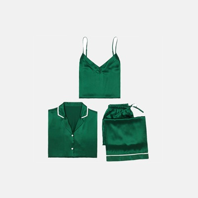 女款真丝睡衣三件套 | 富含18种氨基酸,柔软养肤