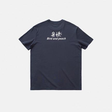 印花鸟桃文字-短袖T恤   选用21支纱精梳棉