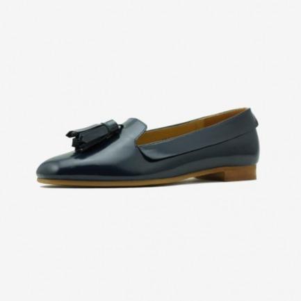 NoMoreLie001-2女鞋 单鞋 真皮大流苏 复古乐福鞋Loafer 墨蓝色