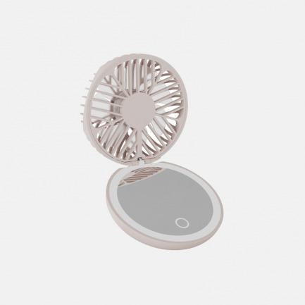 化妆镜风扇-花 | 小巧便携,环形LED补光