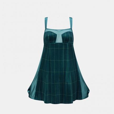 极光绿条纹丝绒宽肩带睡裙   不想穿千变一律的冬季睡裙