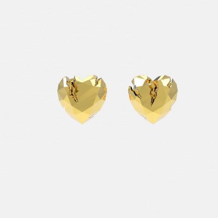 金色破碎心形耳环   金属切割可折射立体光正反可戴