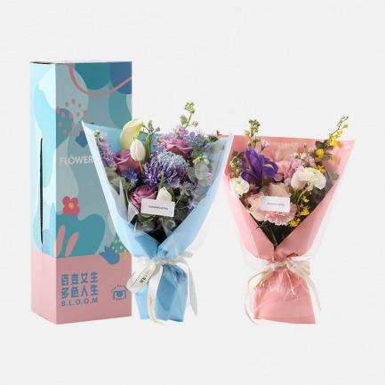 花漾少女马卡龙鲜花礼盒 | 马卡龙配色花束 咸甜皆可