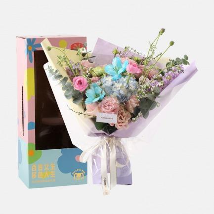 花与爱丽丝花材礼盒 | 精致开窗礼盒 撞色花朵元素