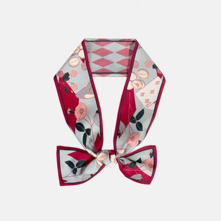 寻宝游戏真丝斜纹窄领巾 | 真丝材质 聚焦光泽