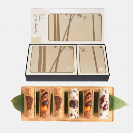 竹径青风四种口味粽子礼盒 | 最佳笋用竹包裹的风雅粽子