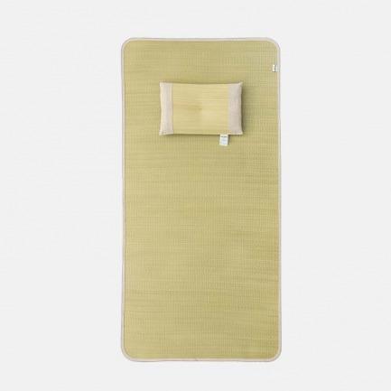 蔺草儿童凉席枕头套装   优质蔺草制成 凉而不冰