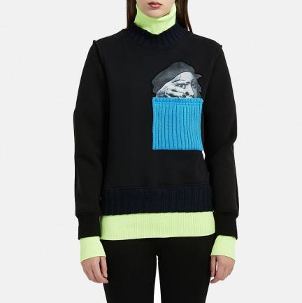 拉斐尔毛线贴袋卫衣   前卫荧光色点缀 秋冬必备