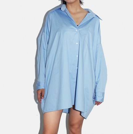 蓝色全棉宽松长款大衬衫 | 秋季慵懒风必备
