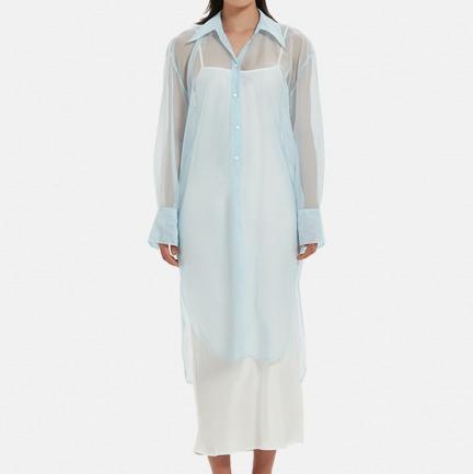宽松半透中长衬衫 | 外套里藏匿的神秘纱