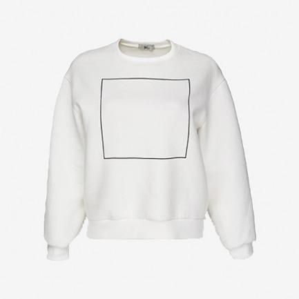 FrontRowShop方框印花白色宽松休闲套头薄卫衣