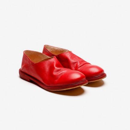 KINKLE WORKSHOP 红色植鞣牛皮便鞋