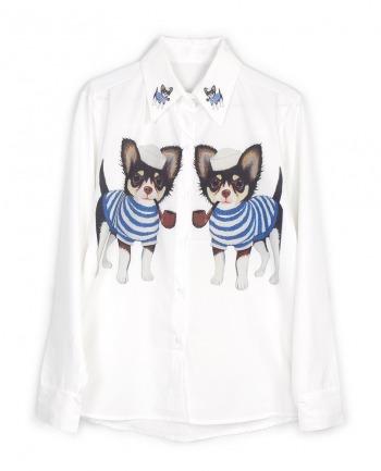 【Silver Lining 独立设计】ZOO系列丝绵衬衫-小狗船长