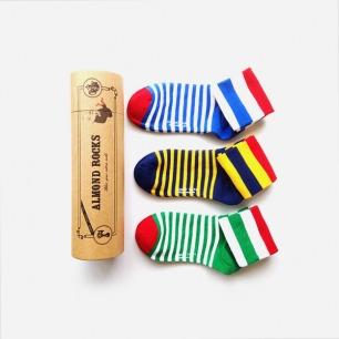 英伦三色条纹中筒袜套装(黄绿蓝)