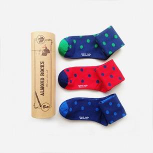 英伦三色波点中筒袜套装(绿蓝红)