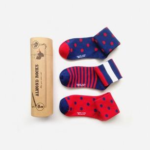 英伦条纹波点中筒袜套装(红蓝色系)
