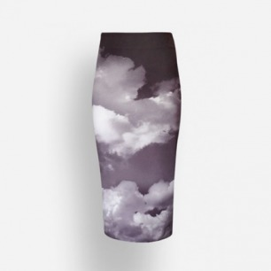 SKIN 印花 后开衩铅笔裙 Beyond the Clouds