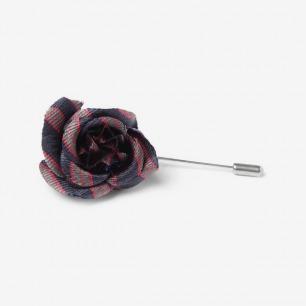 LANVIN 格纹布花朵胸针