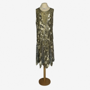 Stupendous 1920s gold and silver sequin flapper dress!