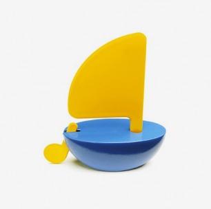 Playsam-14712 Sailboat 80 mm yellow/blue 小帆船
