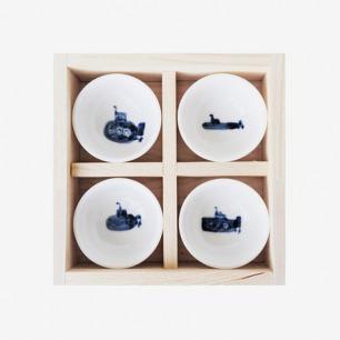 潜艇生活限量手绘小茶杯四格套装