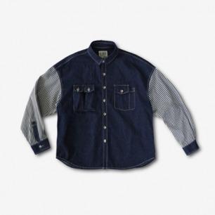 <李合张>立体工装口袋 宽松落肩 条纹拼接 牛仔衬衫
