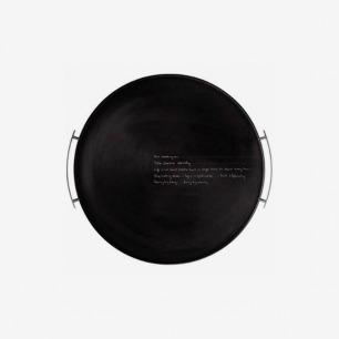 丹麦Stelton 酷黑不锈钢带把手圆形托盘33cm