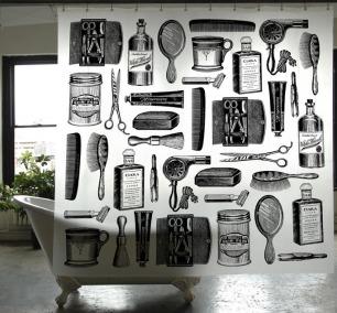 防水专用浴帘 | 用创意黑白色装点浴室