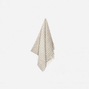 亚麻色锯齿纹羊毛毛毯 | 100%纯墨西哥羊毛