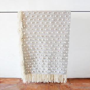 灰色立体绣花流苏羊毛毛毯 | 100%纯墨西哥羊毛