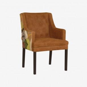 皮革和纺织品树叶拼贴扶手椅