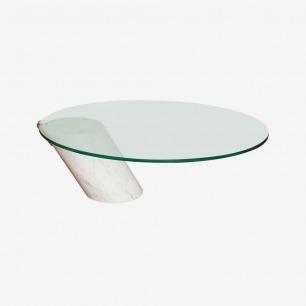 茶几A Chic Mid Century Modernist Brueton Marble & Glass Cocktail Table