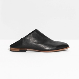 & Other Stories | Textured Leather Flats | Black