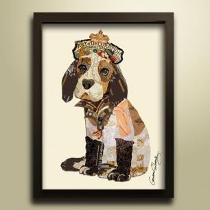 可爱狗-拼贴画 | 废旧报纸、杂志再设计